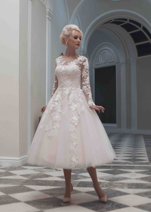 Charlotte Wedding Dress, long sleeve lace with tea skirt length, classic modern take on a vintage style, beautiful