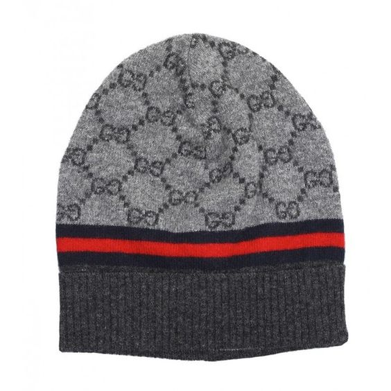 Gucci Grey & Dark Grey Wool & Cashmere GG Pattern Hat ($160) ❤ liked on Polyvore featuring accessories, hats, pattern hats, gucci hat, gucci, woolen hat and grey cashmere hat