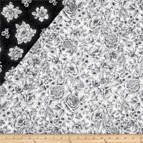 Opposites Attract Double Sided Quilted Toile Black/White from @fabricdotcom  Designed for Fabri-Quilt, Inc., this double-sided quilted fabric features a floral print on both sides. It is composed of 2-100% cotton fabrics with an inner layer of 3.3 oz polyester batting. Colors include black and white. Use this fabric to create a unique quilt, quilting projects and totes or handbags.