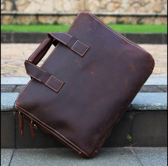 Italian Leather Men's Portfolio Laptop Bag Briefcase