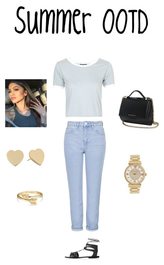 """""""Summer OOTD"""" by jammingjade1 ❤ liked on Polyvore featuring Topshop, Bling Jewelry, Michael Kors, Kate Spade and Givenchy"""