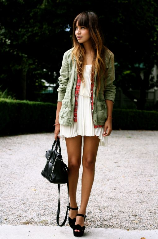 love the grunge chic look of this outfit. It's an easy way to get more use out of your fancy dresses.