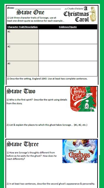 """""""A Christmas Carol"""" - Stave Study Guide 