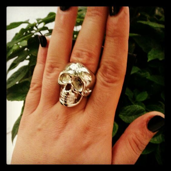 "My new #skull #ring because I can't scream ""I'm a douche nugget"" louder."