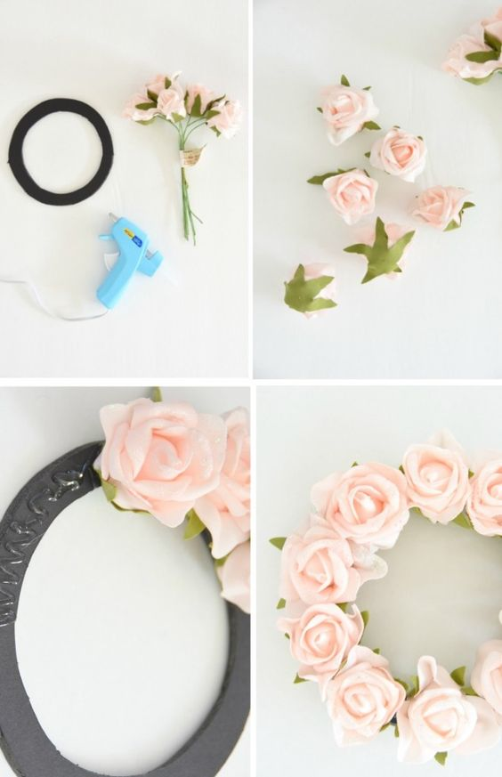 Want to make a spring or summer wreath? Click through to find out how to make this pink floral wreath for less than $10! Would be really cute for baby shower or bridal shower decorations!