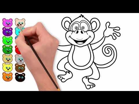 Monkey Monkey Drawing Monkey Coloring Learn To Draw Monkey رسم وتلوين قرد Youtube Coloring For Kids Pencil Case Cards