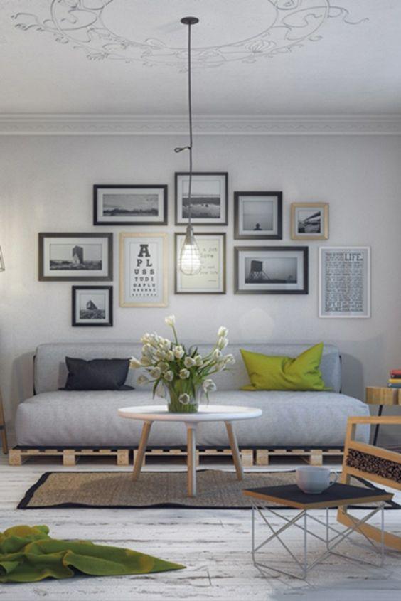 60 DIY Möbel aus Europaletten – erstaunliche Bastelideen für Sie - Möbel bilderrahmen Europaletten silbern ambiente