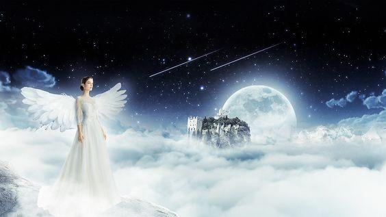 Ángel, Cielo, Noche, El Cielo, Mujer, Fantasía, Alas