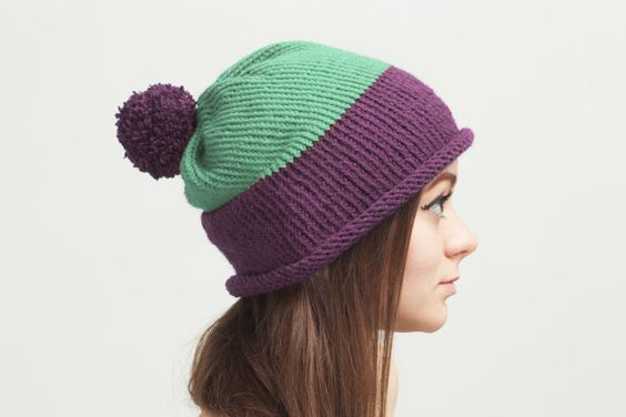 Violet Pom Pom Knit Hat 3in1 Mint Green Hand by OneHatStore