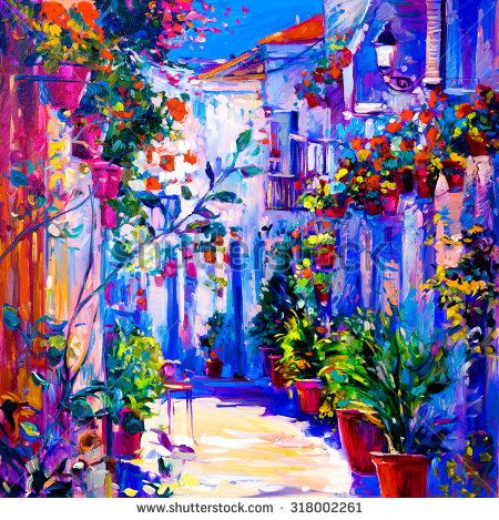 Original oil painting on canvas. White houses with flowers and blue sky. Modern impressionism by Nikolov  - stock photo