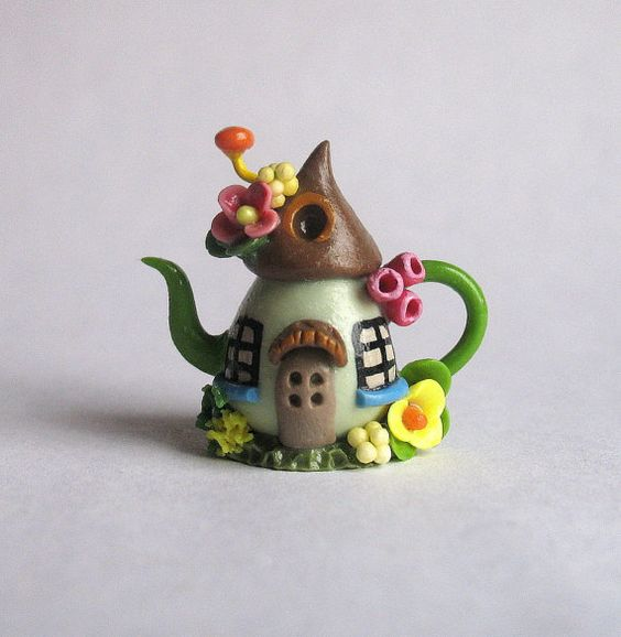Handmade Miniature Fairy House Teapot by C. by ArtisticSpirit