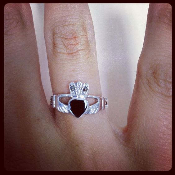 Onyx and Marcasite Sterling Silver Claddagh Ring