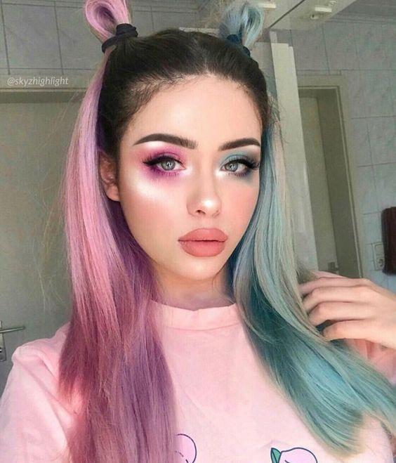 Half Pink Half Blue Repost Ombrehair Makeup Harleyquinn Rayrayhairofficial Aesthetic Hair Hair Styles Half And Half Hair