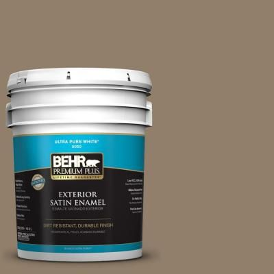 BEHR Premium Plus 5-gal. #HDC-NT-11 Sandalwood Tan Satin Enamel Exterior Paint-934005 - The Home Depot