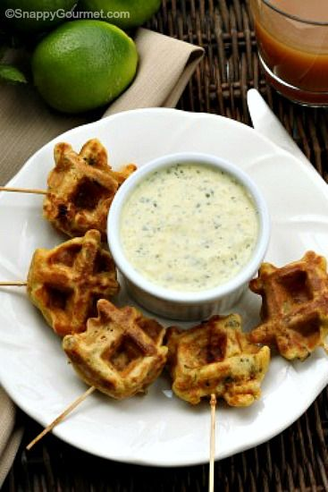 Caribbean Shrimp Stuffed Waffle Pops, the best appetizer full of tropical flavors and a fun way to use your waffle iron! SnappyGourmet.com