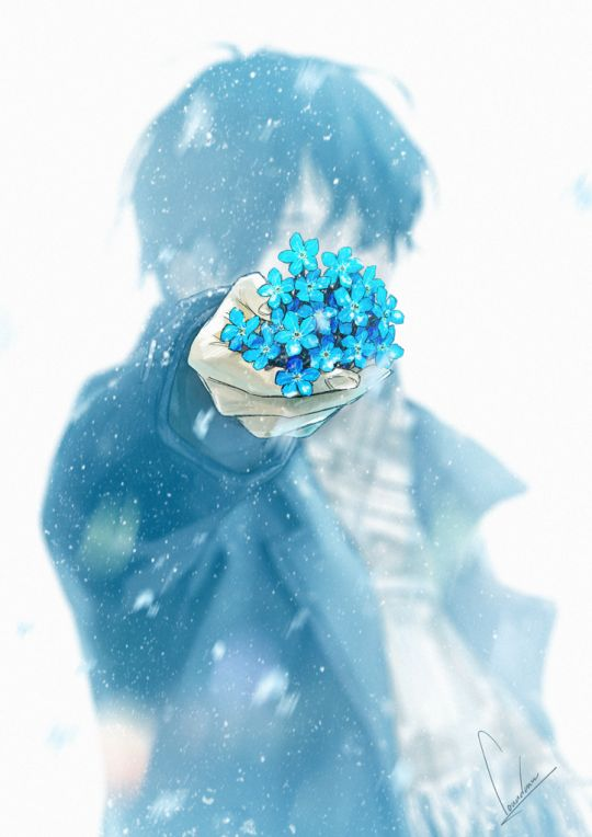 """[Your name],"" he said, the delicate snow gently from the cold grey sky. In his hands were a small bunch of wild blue flowers, freshly plucked from the faded green grass of autumn. He was not able to meet your eyes. Taking the blue flowers, it was all you had left of him as you watched him go."