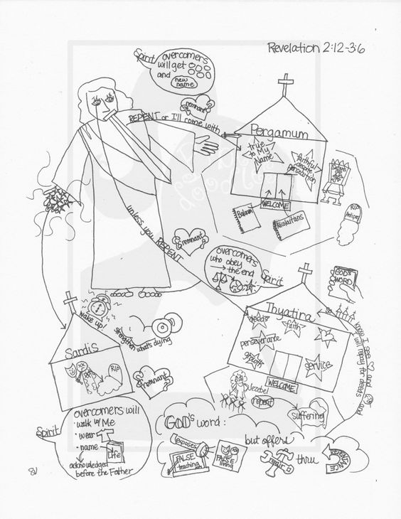 Bible Doodle Study Guide for Revelation 2-3: Jesus' Messages to Pergamum, Thyatira, and Sardis by BibleDoodles on Etsy