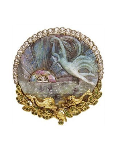 Brooch/pendant with carved opal, demantoid garnet, diamonds, 18k yellow gold, and platinum, c. 1890. A carved opal depicting a sea nymph with ocean waves by Marcus & Co.