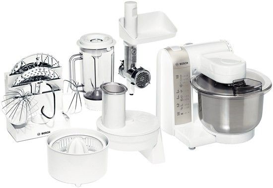 Bosch Mum4880 600w White Food Processor 214 99 Bosch Https Bestbuycyprus Com Food Pr Bosch Kitchen Machine Kitchen Machine Stainless Steel Mixing Bowls