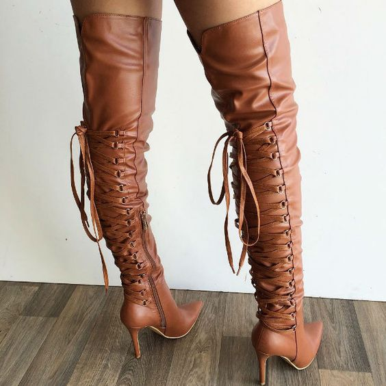 Thigh High Pointy Boots: