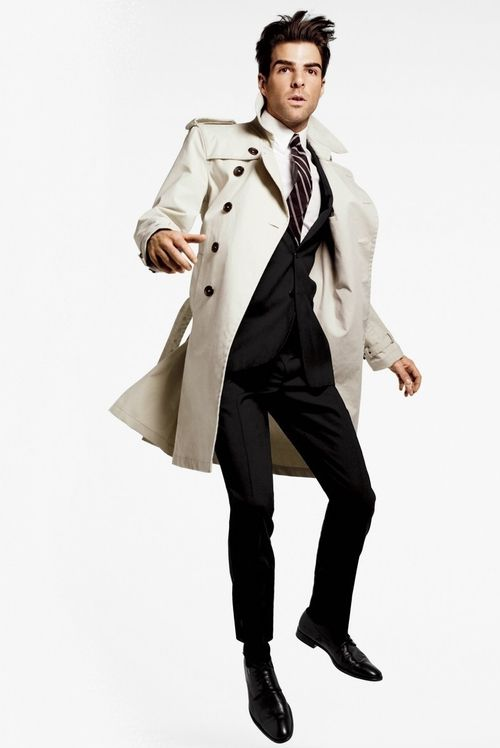 A typical trench coat is a ten-buttoned, double-breasted long coat made with tan, black, khaki, or beige fabric. Trench coats often have cuff straps, raglan sleeves, shoulder straps and a belt.