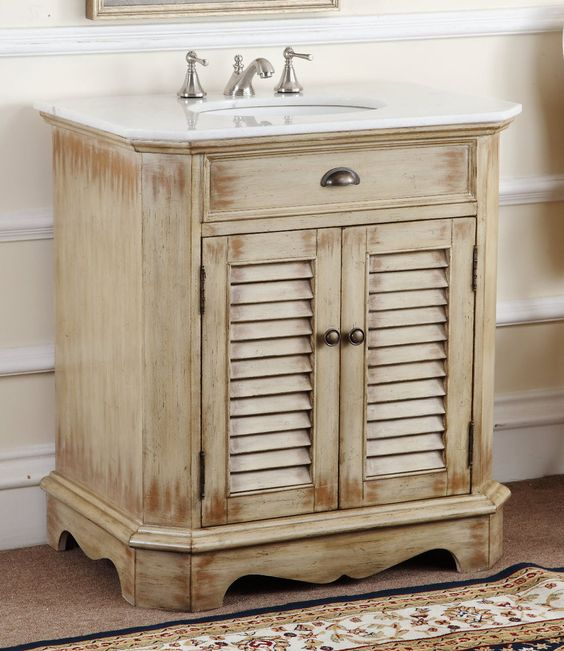 Adelina 32 inch cottage bathroom vanity white marble counter top plantation inspired look of - Small cottage style bathroom vanity design ...