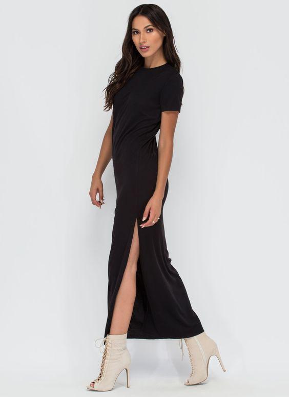 Long Journey Ribbed Slit Maxi Dress BLACK