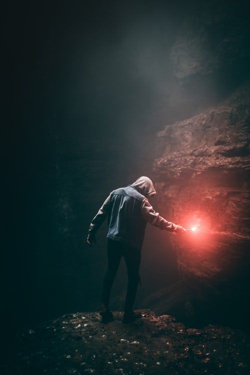 Man In Blue Hoodie Holding Flare Stick Dark Photography Photo Levitation Photography
