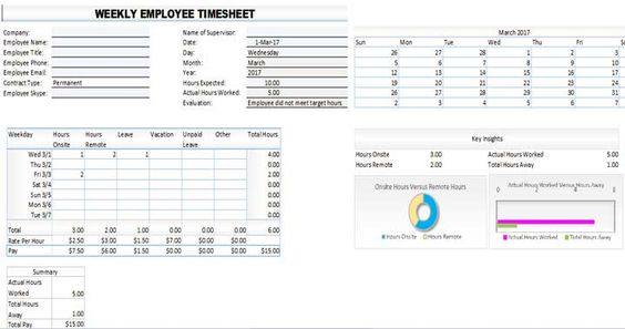 Excel Timesheet Calculator Template For  Free Download