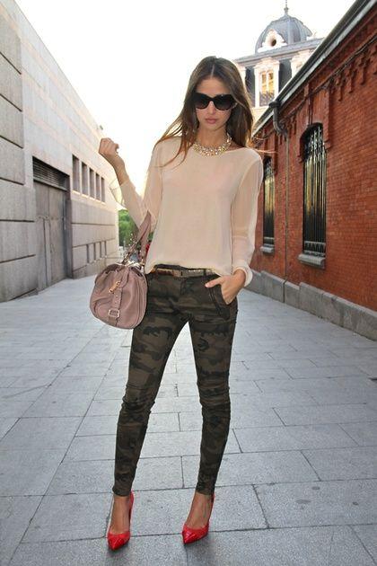 Dress up Camouflage with a feminine blouse, killer heels, & sleek hair
