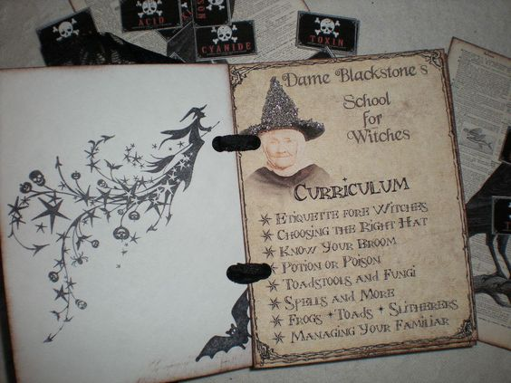 Witches Handbook, Halloween decoration, with black lace. $8.00, via Etsy.