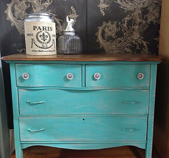 Chalk Paint Furniture Turquoise Blue Vintage Antique