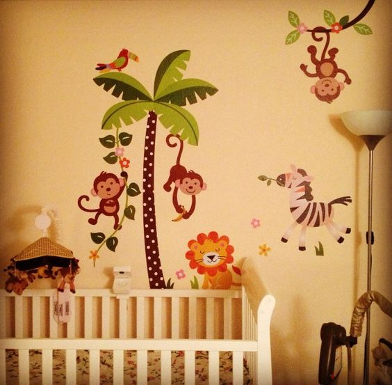 Fun #nursery #WallArt. Love the idea of wall decals!  Great decoration, and REMOVABLE!!