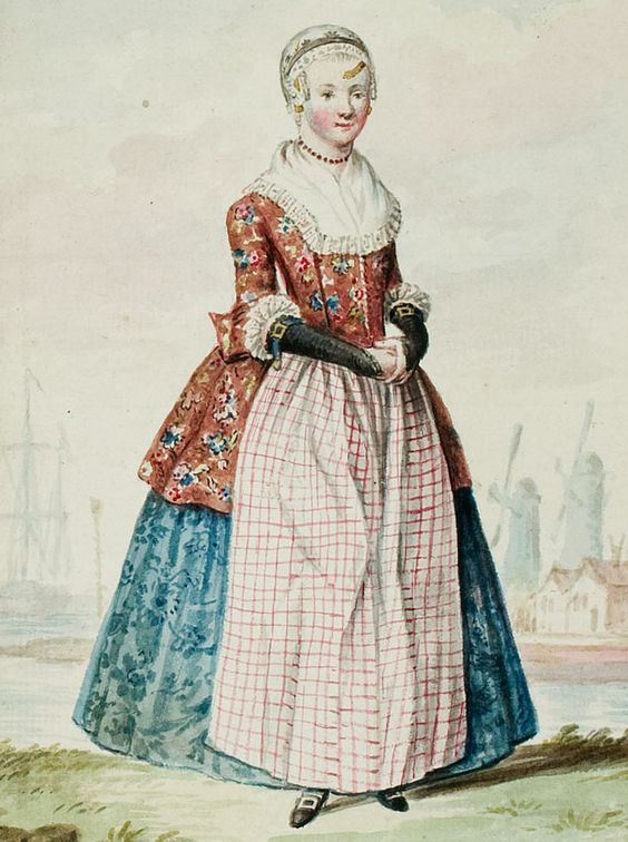 "1770s - 18th century - woman's outfit with mixed print fabrics (jacket in floral, skirt in a different floral, apron in plaid/checks, and cap in floral) - From ""An album containing 90 fine water color paintings of costumes."" Turin : [s.n.] , [ca.1775]. In the collection of the Bunka Fashion College in Japan. Underneath the illustration is handwritten in pencil ""North Holland."" - Netherlands - Dutch."
