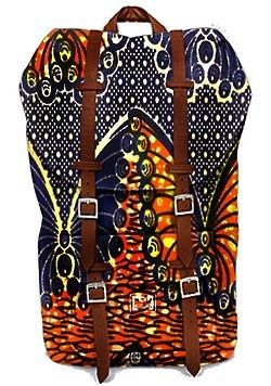African print backpack with leather straps: