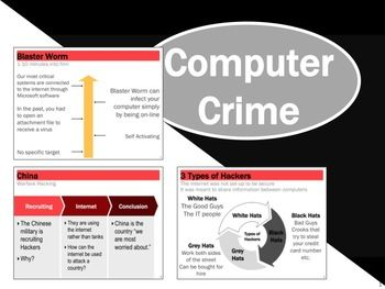 Computer Crime Lesson Activity.  * Mafiaboy - a 15 year old boy who took down Yahoo and CNN * Newest types of computer viruses * Computer Crime Definitions * Cyber Warfare against countries - Estonia * How Hackers Stole $45 Million in Two Days * Microsoft and FBI take down global cyber crime ring: Classroom School, Computer, Classroom Stuff, Technology Class, Crime, Cyber, Boy, Business, 15 Year