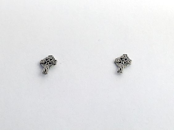 Sterling Silver tiny Celtic Knot Cross stud earrings-Christian, Religion, knots