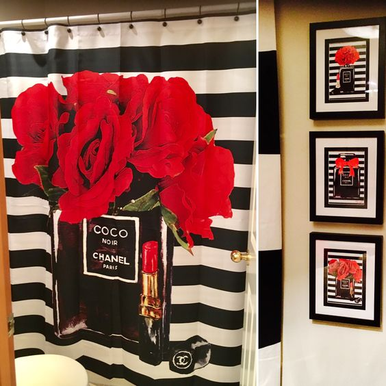 Do It Yourself Framed Chanel Shower Curtain Black And White Stripe Bathroom Decor Apartment Restroom Decor Bathroom Decor Themes