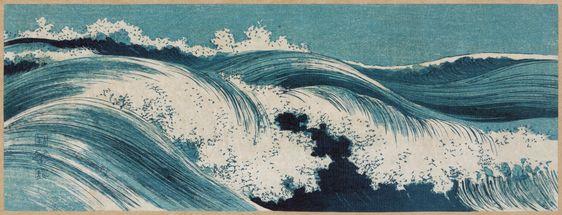 Konen Uehara. Olas (xilografía, hacia 1910). Librería del Congreso de los EEUU