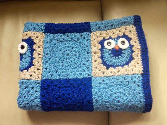 Free Knitting Pattern Owl Blanket : Owl baby blankets, Baby blanket crochet and Blanket ...