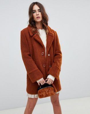 Fashion Union - Cappotto monopetto effetto peluche