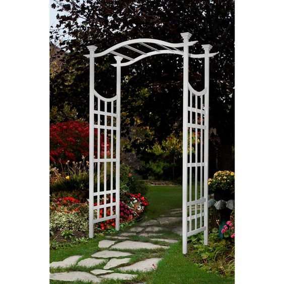 New England Arbors Semi Glossy White Garden Arbor THE CRANBROOK