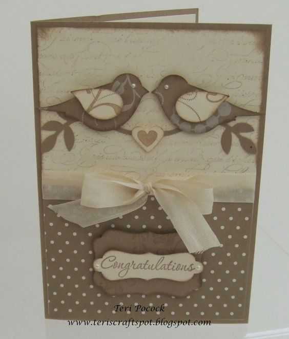 handmade card by Teri Pocock ... monochromatic browns ... pair of two-step punched birds ... luv the use of French Script backgroundsw and polka dot paper ... Stampin'Up!