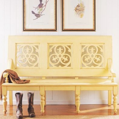 yellow bench | Home Sweet Home | Pinterest | Yellow and Benches