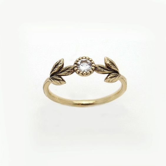 14K Vintage style Yellow Gold Flower leaf Ring,engagement ...