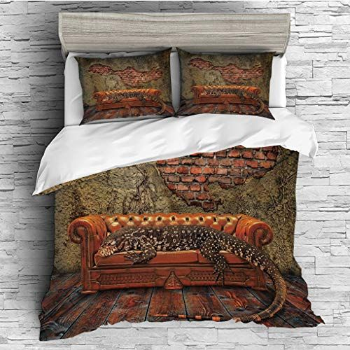 Scocici King Size Duvet Cover Set Fantasy Decor Decadence Grunge Ruin Brick Wall And A Giant Lizard On So King Size Duvet Covers Fantasy Decor Duvet Cover Sets