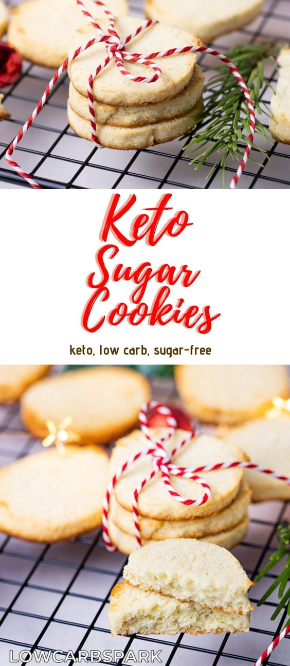 These keto sugar cookies are not only easy to make but low carb. They are soft on the inside, crunchy on the outside and buttery. It's a classic Christmas Cookie Recipe made without sugar and grains. To make these sugar cookies, you will need almond flour and coconut flour. It's a pleasure to make these easy keto sugar cookies. Recipe via @lowcarbspark | www.lowcarbspark.com via @lowcarbspark