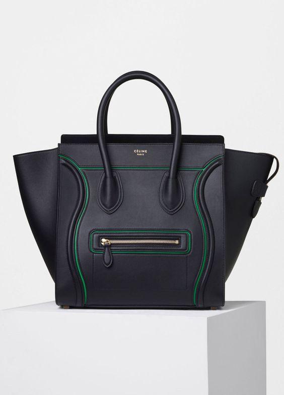 celine nano luggage tote - Micro Luggage Handbag with Interstice in Black Smooth Calfskin ...