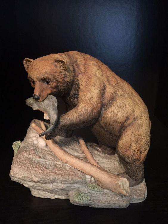Home Interior Homco Porcelain Endangered Brown Bear Figurine