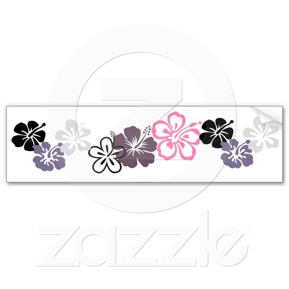 Gray and pink Hibiscus bumper sticker